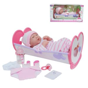 JC Toys, La Newborn 14 inch Life-Like All Vinyl Baby Doll Rocking Crib Gift Set