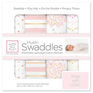 SwaddleDesigns Muslin Swaddles - Touch of Shimmer