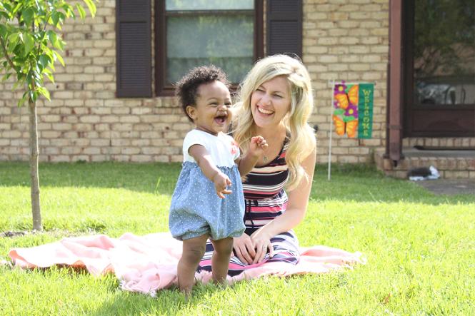 Mama and Arsema laugh