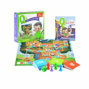 Award-Winning Children's book — Q's Race to the Top Boardgame with Book