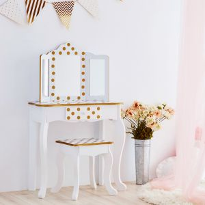 Teamson Kids - Fashion Polka Dot Prints Gisele Toy Vanity Set - White / Gold