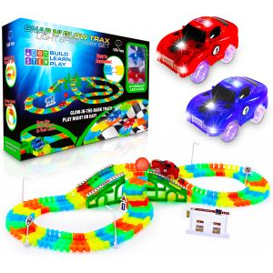 Glow in The Dark Race Car Tracks with 360pk Flexible Track Set and 2 LED Toy Cars