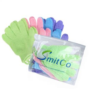 SMITCO Exfoliating Gloves - Body Exfoliator, 4 pairs