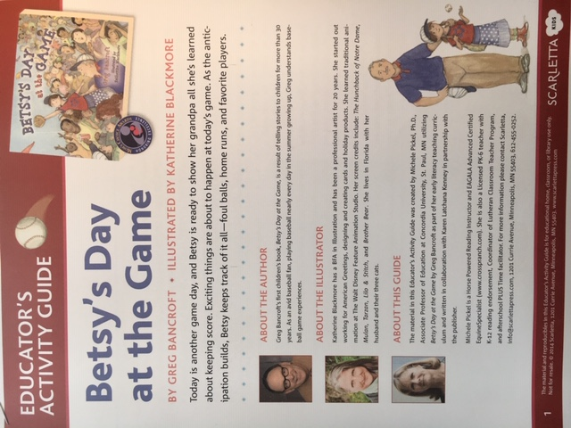 Betsy's Day at the Game Educator's Activity Guide covid free