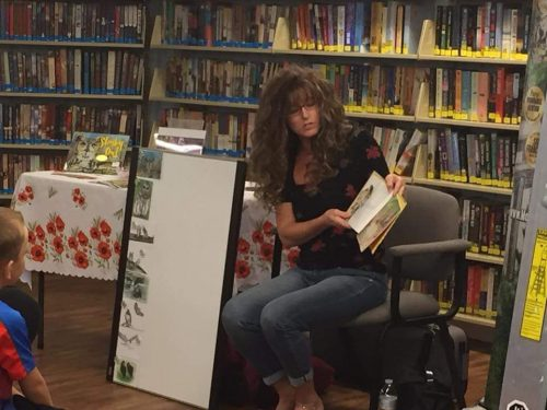 Melanie at one of her book readings.