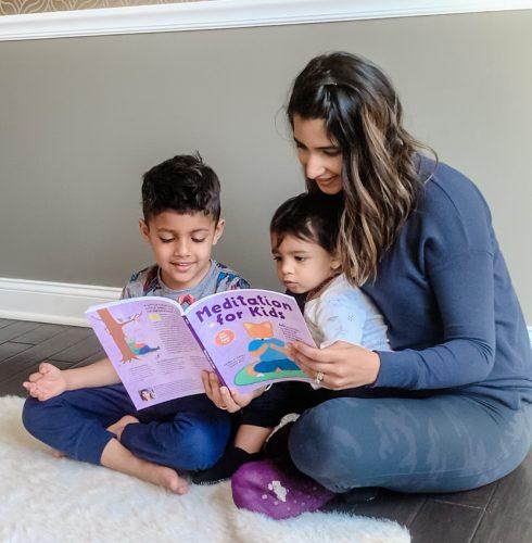 Tejal reading Meditation for Kids to her children