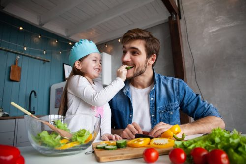 children and food with dad