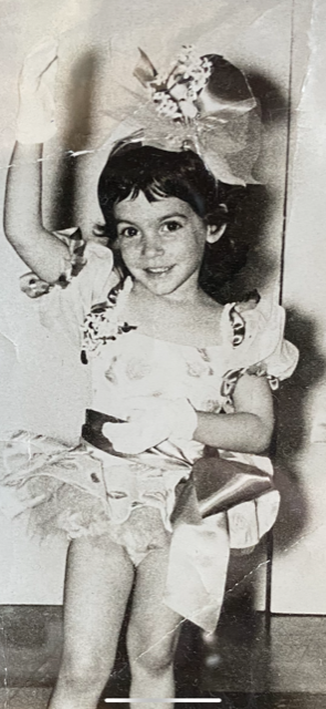 Noel performing at the age of 3, one of her earliest memories of her dealing with anxiety.