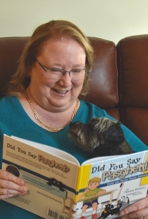 Tammy with her rescue dog, Dusty, Did You Say Pasghetti? Dusty and Danny Tackle Dyslexia!