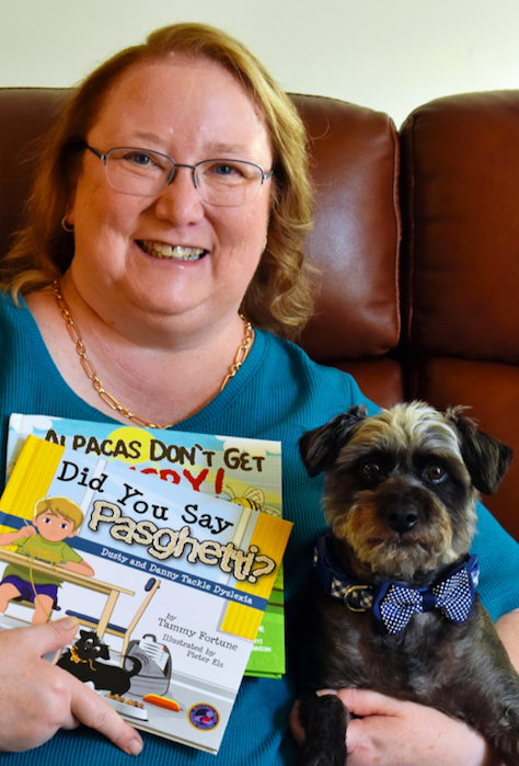 Tammy with her rescue dog, Dusty.